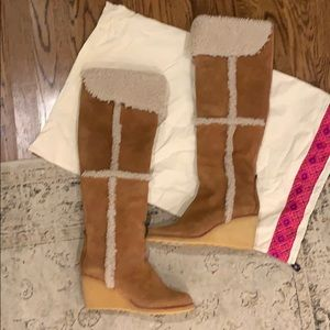 Tory Burch Shoes - Tory Burch Cinnamon Latte Cassius OTK Wedge Boots